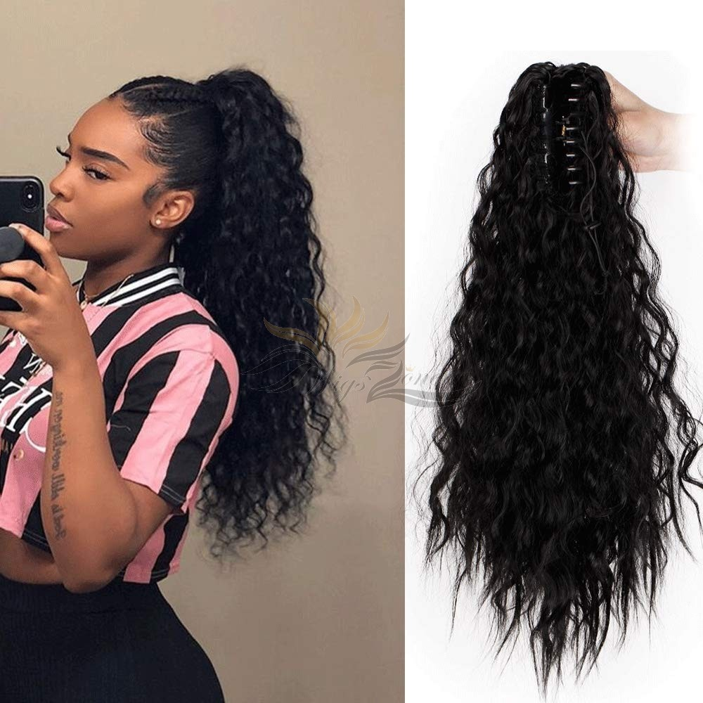 Long Ponytail Extension Synthetic Spanish Wave Ponytail Claw Jaw Ponytail Clip on Hair Extensions Drawstring Ponytail for Women [HA05]