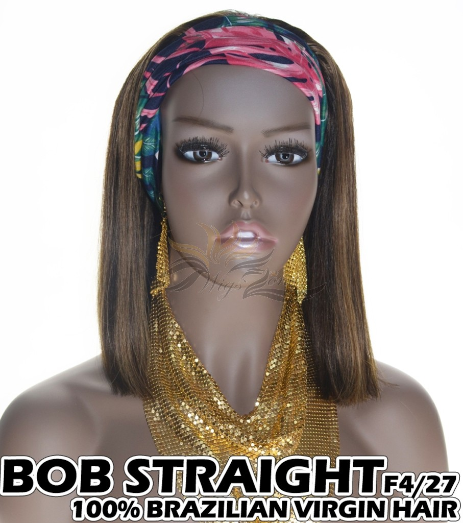 100% Top Grade Brazilian Cuticle Aligned Human Hair BOB F4/27 Headband Wig Scarf Wig [BH427B]