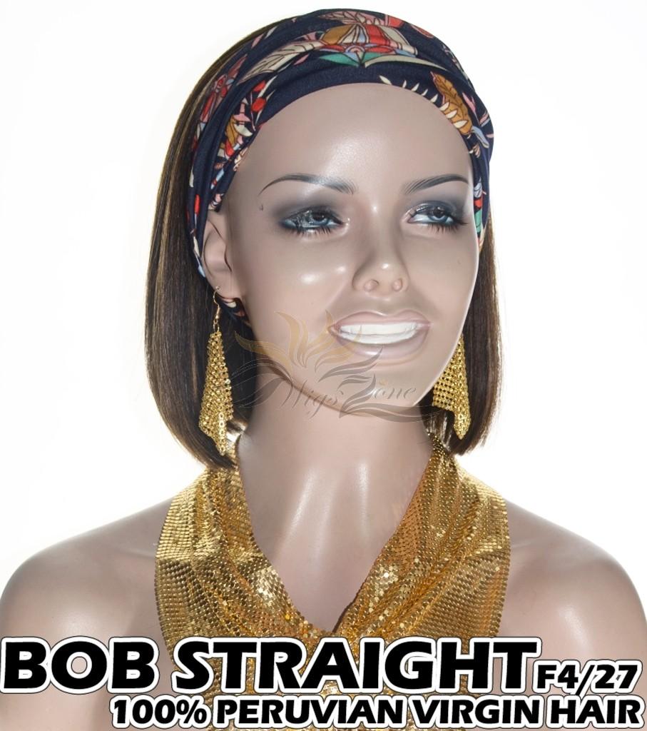 100% Top Grade Peruvian Cuticle Aligned Human Hair BOB F4/27 Headband Wig Scarf Wig [PH427B]