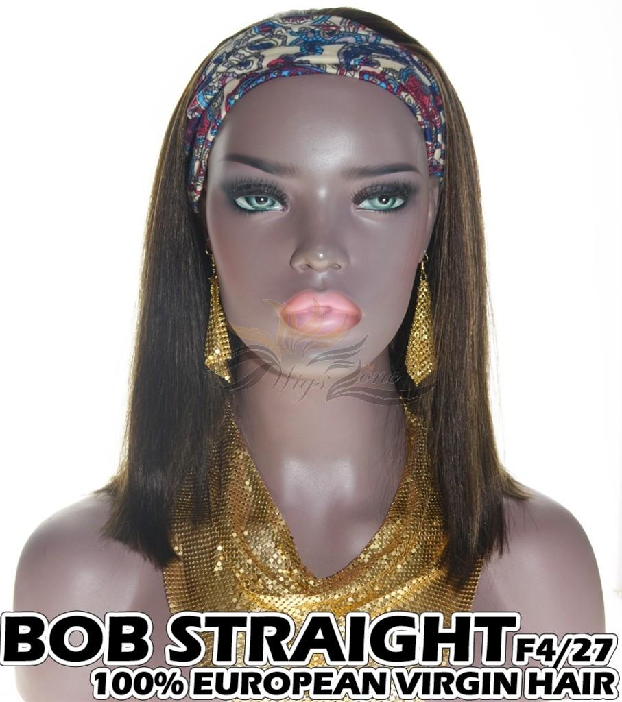 100% Top Grade European Virgin Hair Headband Wig Scarf Wig BOB Straight F4/27 [EH427B]