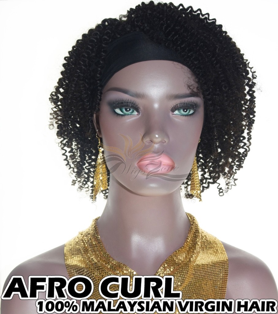 100% Top Grade Malaysian Cuticle Aligned Human Virgin Hair Headband Wig Scarf Wig Afro Curl [MHAC]