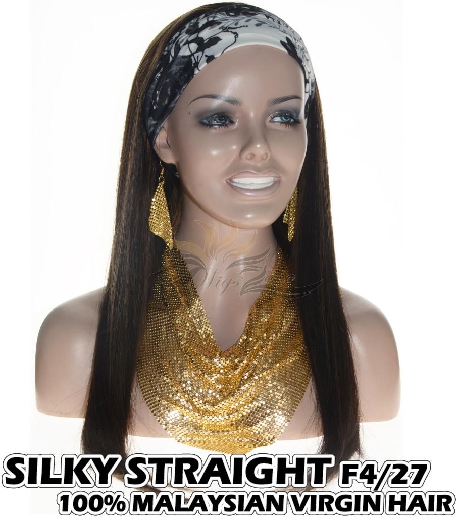 100% Top Grade Malaysian Cuticle Aligned Human Hair Headband Wig Scarf Wig Silky Straight F4/27 [MH427ST]