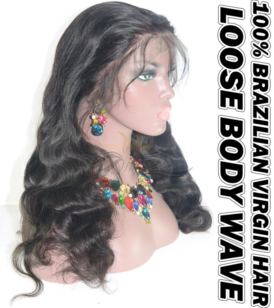 Loose Body Wave Brazilian Virgin Human Hair HD Lace 360 Lace Wig 150% Density Pre-Plucked Hairline