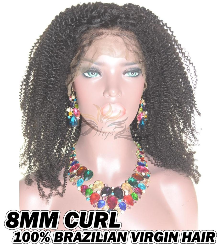 8MM Curl Brazilian Virgin Human Hair HD Lace 360 Lace Wig 150% Density Pre-Plucked Hairline