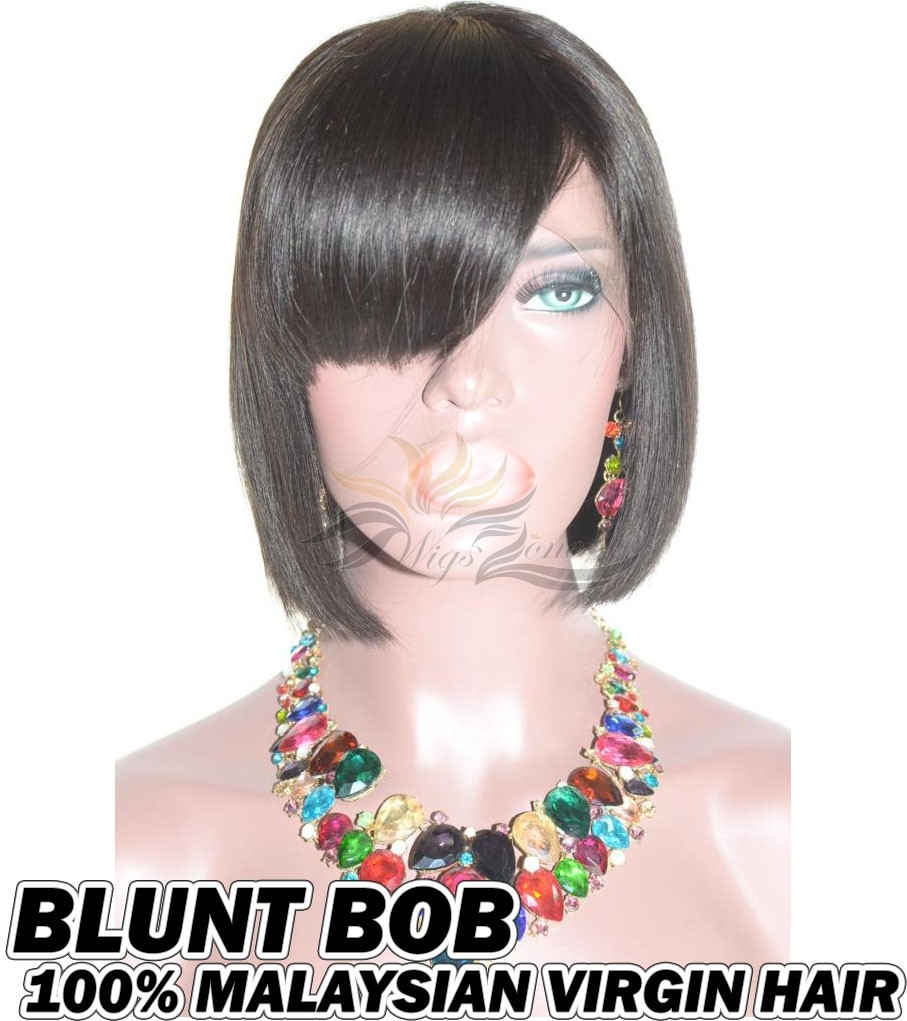 Blunt Bang BOB Malaysian Virgin Human Hair HD Lace 360 Lace Wig Pre-Plucked Hairline