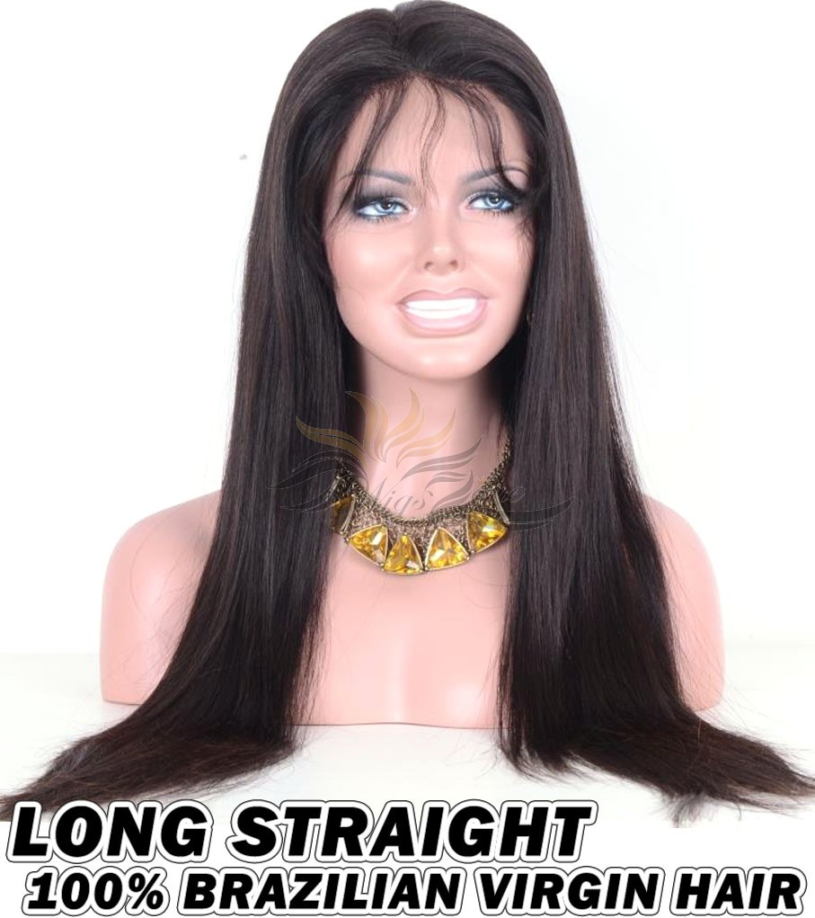 Long Straight Brazilian Virgin Human Hair HD Lace 360 Lace Wig 150% Density Pre-Plucked Hairline