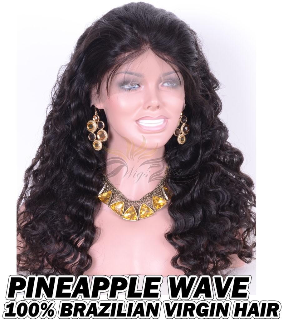 Pineapple Wave Brazilian Virgin Human Hair HD Lace 360 Lace Wigs 150% Density Pre-Plucked Hairline