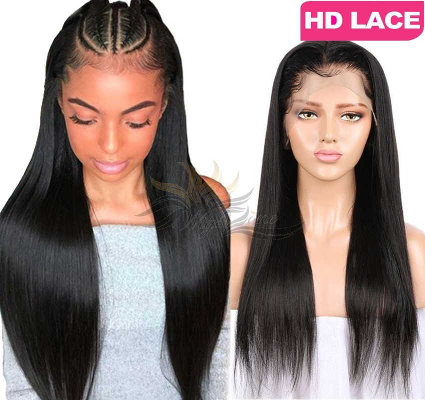 HD LACE BRAZILIAN VIRGIN HAIR SILK STRAIGHT 6INCH DEEP PARTING LACE FRONT WIG PRE-PLUCKED HAIRLINE [HD6HST]