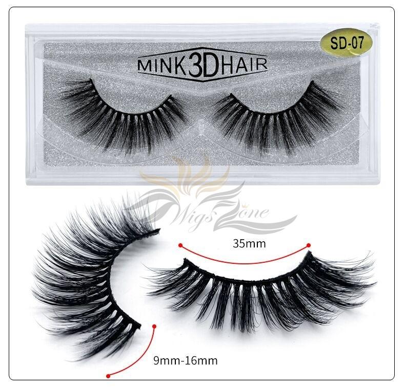 3D Mink Eyelashes 3D Layered Effect Faux Siberian Mink Fur Reusable Hand Made Strips Eyelashes 1 Pair [SD-07]