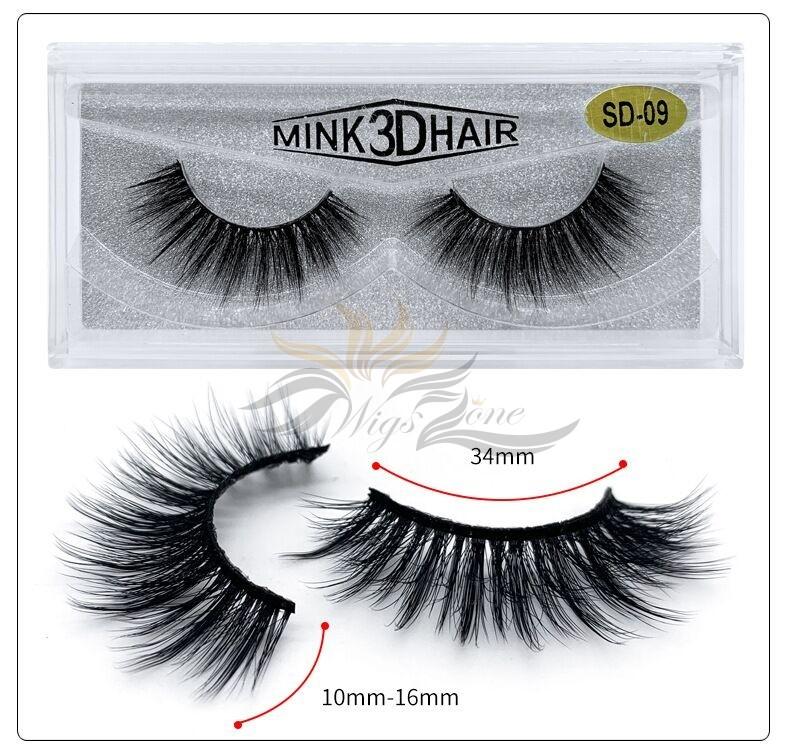 3D Mink Eyelashes 3D Layered Effect Faux Siberian Mink Fur Reusable Hand Made Strips Eyelashes 1 Pair [SD-09]