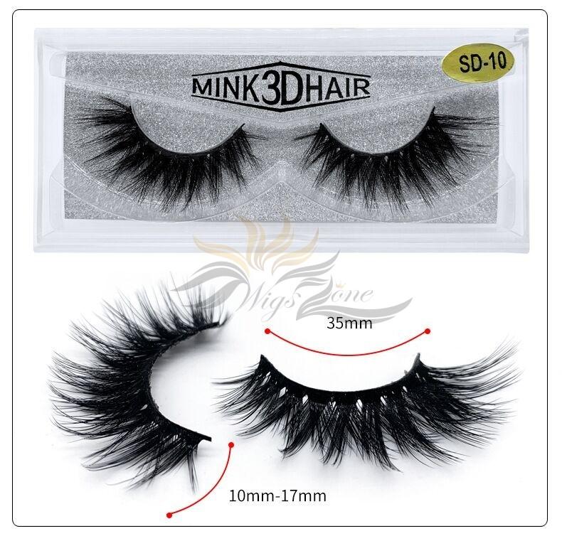 3D Mink Eyelashes 3D Layered Effect Faux Siberian Mink Fur Reusable Hand Made Strips Eyelashes 1 Pair [SD-10]