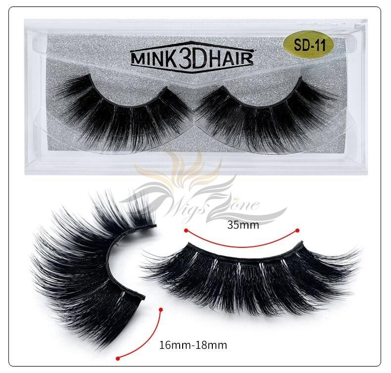 3D Mink Eyelashes 3D Layered Effect Faux Siberian Mink Fur Reusable Hand Made Strips Eyelashes 1 Pair [SD-11]