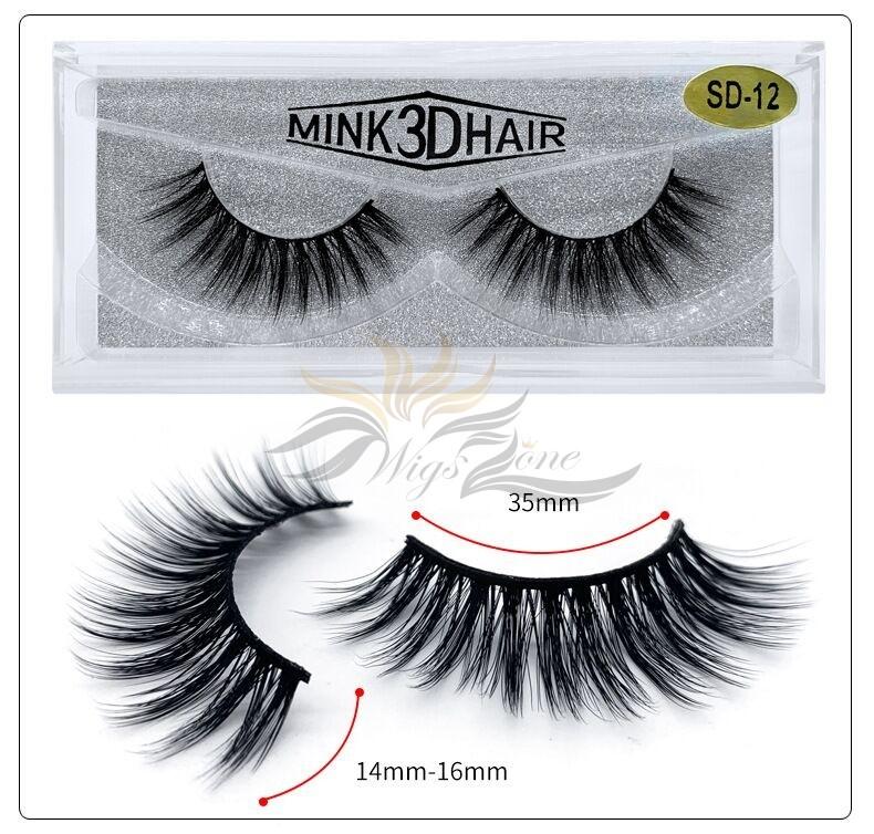 3D Mink Eyelashes 3D Layered Effect Faux Siberian Mink Fur Reusable Hand Made Strips Eyelashes 1 Pair [SD-12]