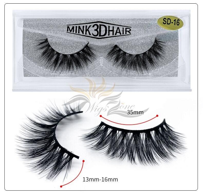 3D Mink Eyelashes 3D Layered Effect Faux Siberian Mink Fur Reusable Hand Made Strips Eyelashes 1 Pair [SD-16]