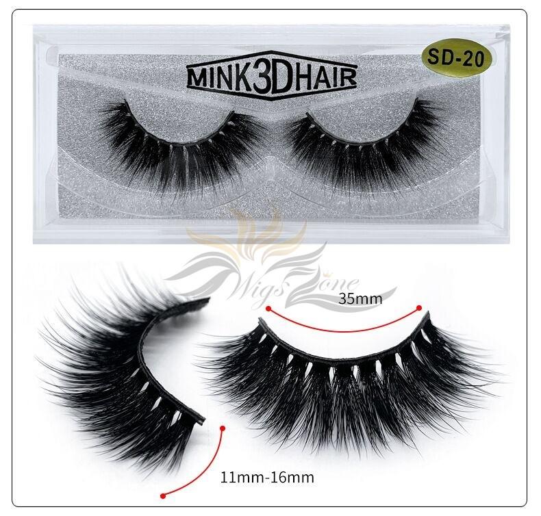 3D Mink Eyelashes 3D Layered Effect Faux Siberian Mink Fur Reusable Hand Made Strips Eyelashes 1 Pair [SD-20]
