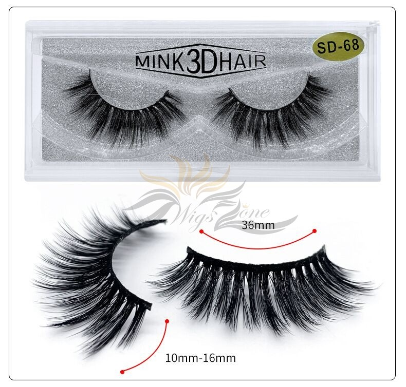 3D Mink Eyelashes 3D Layered Effect Faux Siberian Mink Fur Reusable Hand Made Strips Eyelashes 1 Pair [SD-68]