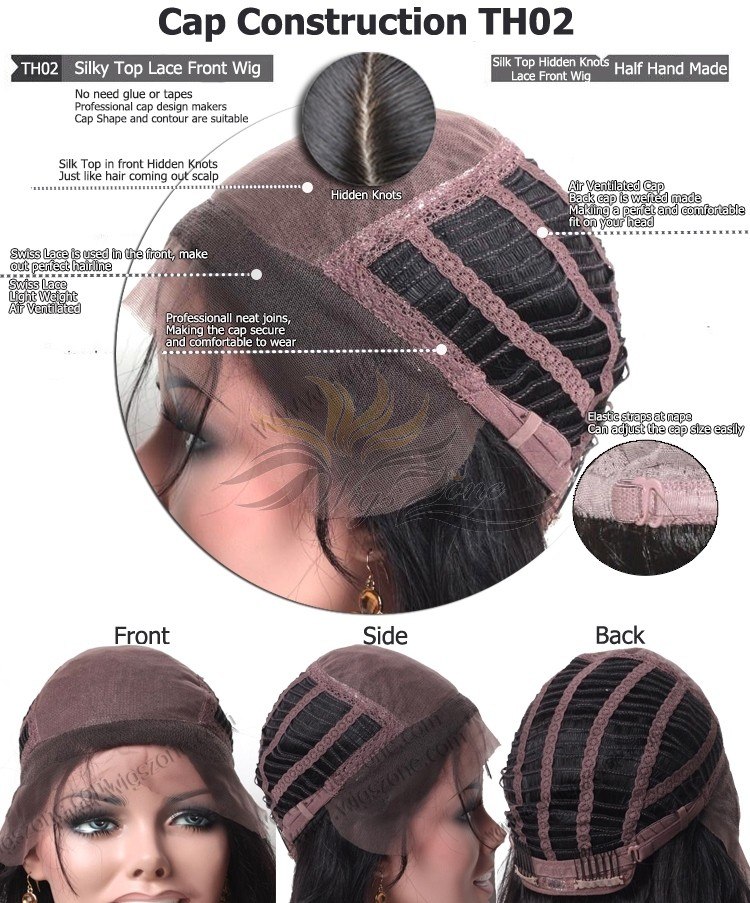 CUSTOM MADE SILK TOP GLUELESS LACE FRONT WIG EXACTLY AS YOU WANT [TH02]