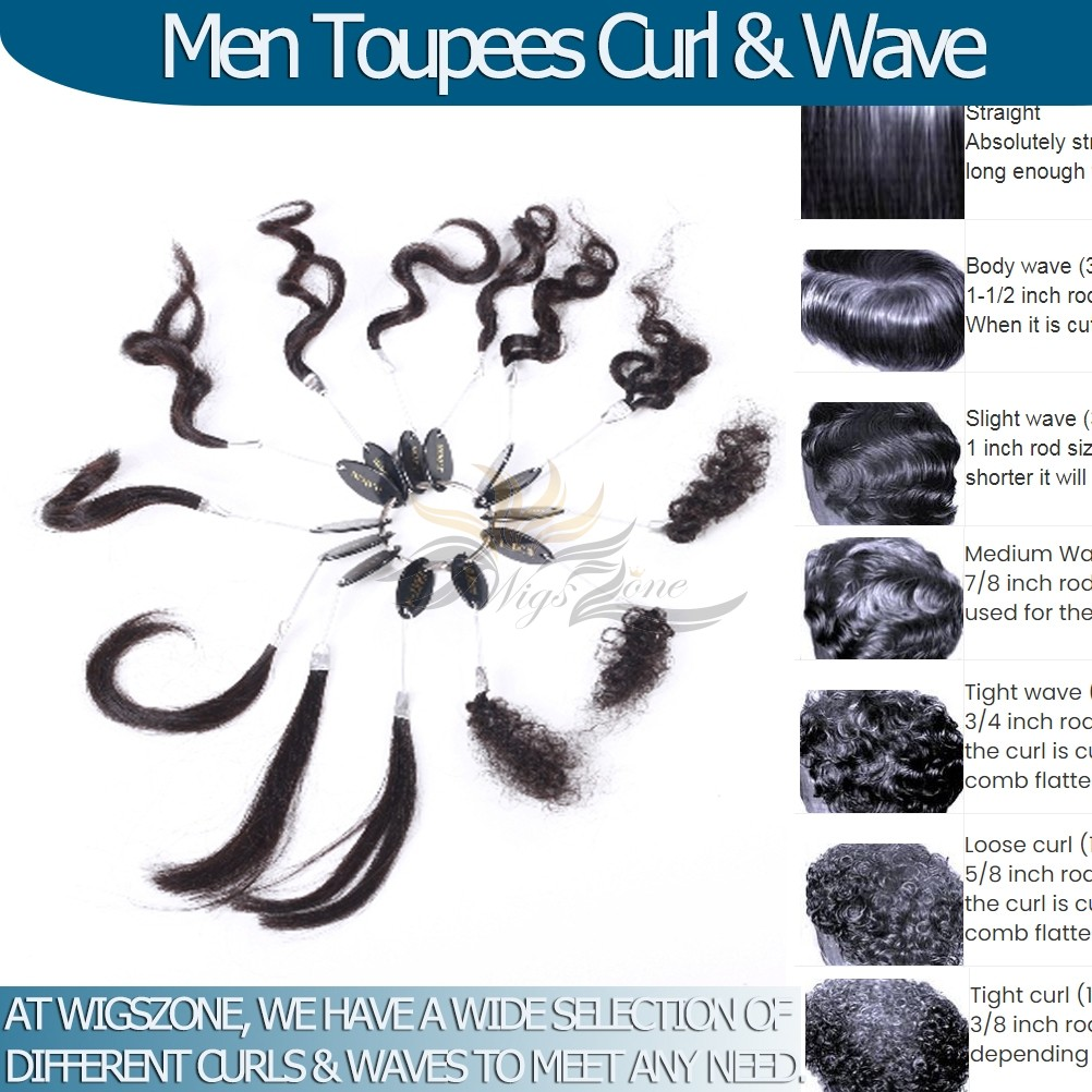 Man Toupees Hair Replacements Curl & Wave