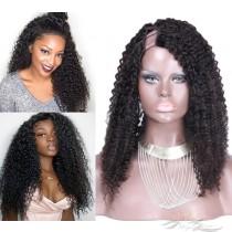 Kinky Curl Brazilian Virgin Hair U Part Wigs Human Hair U-PART Wigs Clips In Glueless Wigs Pre Plucked African American Wigs For Black Women No Glue No Sew In [UWKC]