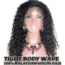 100% Top Grade Malaysian Virgin Hair 360 Lace Wigs Tight Body Wave Intact Hair Cuticles Aligned [M360TBW]