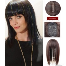 3D Bionic Scalp Silk Top Hair Pieces Hair Replacement With Fringe Bangs Hidden Knots [FBSYN]
