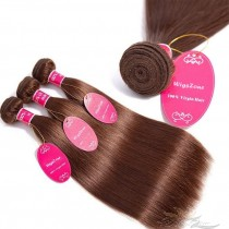 Color #4 Silky Straight Brazilian Virgin Hair Wefts 4pcs/Lot Human Virgin Hair Weaves 4 Bundles [BRW4ST4]