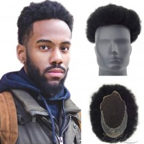 Thin Skin Lace Toupee Lace Front Skin Toupee Afro Toupee for Men Afro Curl Hair Pieces Men's Afro Curly Human Hair Replacement System [T59]