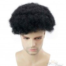Full Super Fine Swiss Lace Men's Toupee for Black Men Afro Toupee African American Hair Piece African Curly Afro Men's Replacement [T26]