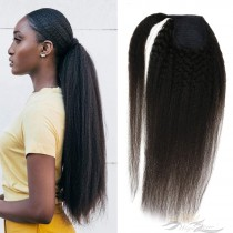 Clip in Ponytail Extension Wrap Around Kinky Straight Hairpiece for Black Women 22 Inch Kinky Straight Hair [HA09]