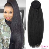 Afro Puff Drawstring Ponytail Extension Natural Long Kinky Straight Fluffy Clip In On Ponytails with Two Combs Yaki Kinky Straight Hairpiece Synthetic Hair High Puff Ponytails 22 Inches [HA03]