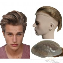 Thin Skin Lace Toupee for Men Hair Replacement System Top Quality Human Hair Hairpieces [T52]
