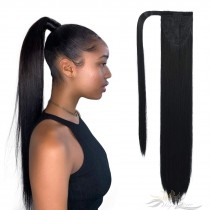 Clip in Ponytail Extension Wrap Around Long Straight Pony Tail Hair 28 Inch Synthetic Hairpiece [HA14]