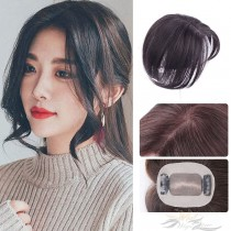 Middle Part Mono Silk Top Human Virgin Hair Pieces Hair Replacement Silk Base Hair Topper Clips-in Hairpieces [HP11]