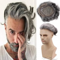 Toupee for Men Mono Lace with PU Around and the French Lace Front Men's Hair Pieces Replacement System 40% 1B Black Color Mixed 60% Grey Hair [T53]