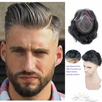 Toupee for Men Hair Replacement System European Human Hairpieces Super Thin Swiss Lace #1B Mixed Gray Hair [T50]