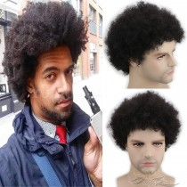 Afro Curl Full Super Fine Swiss Lace Men's Toupee for Black Men Afro Toupee African American Hair Piece African Curly Afro Men's Replacement [T56]