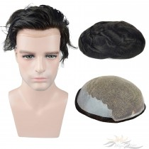 Thin Skin Lace Toupee for Men Hair Replacement System Men's Hairpieces [T7]