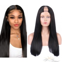 Silky Straight Brazilian Virgin Hair U Part Wigs Human Hair U-PART Wigs Clips In Glueless Wigs Pre Plucked African American Wigs For Black Women No Glue No Sew In  [UWST]