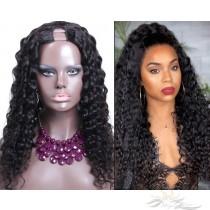Deep Curl Brazilian Virgin Hair U Part Wigs Human Hair U-PART Wigs Clips In Glueless Wigs Pre Plucked African American Wigs For Black Women No Glue No Sew In [UWDC]