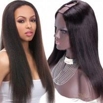 Yaki Brazilian Virgin Hair U Part Wigs Human Hair U-PART Wigs Clips In Glueless Wigs Pre Plucked African American Wigs For Black Women No Glue No Sew In [UWYK]