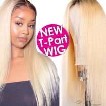 T1B/613 Ombre Blonde Human Hair Lace Front Wigs T-Part Lace Frontal Wig T-Lace Middle Part Wigs Brazilian Hair Clips In Glueless Wigs Pre Plucked African American Wigs For Black Women No Glue No Sew In [TW1B613]
