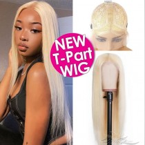 613 Blonde Human Hair Lace Front Wigs T-Part Lace Frontal Wig T-Lace Middle Part Wigs Brazilian Hair Clips In Glueless Wigs Pre Plucked African American Wigs For Black Women No Glue No Sew In [TWST613]