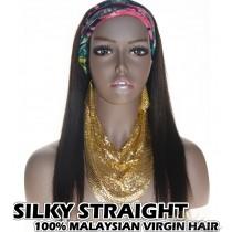 100% Top Grade Malaysian Virgin Hair Headband Wig Scarf Wig Silky Straight Intact Cuticles Aligned [MHST]