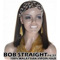 100% Top Grade Malaysian Cuticle Aligned Human Hair BOB F4/27 Headband Wig Scarf Wig [MH427B]