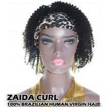 100% Top Grade Brazilian Cuticle Aligned Human Virgin Hair Headband Wig Scarf Wig Zaida Curl [BHZC]