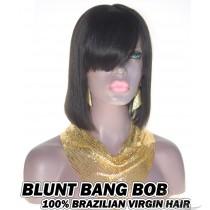 Blunt Bang BOB Brazilian Virgin Human Hair HD Lace 360 Lace Wig 150% Density Pre-Plucked Hairline