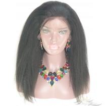 Kinky Straight SILK TOP Lace Front Wig Burmese Virgin Hair Hidden Knots [BUSHKT]