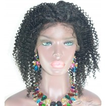 CLEARANCE 16INCH NATURAL BLACK AFRO CURL FULL LACE WIG [C17]