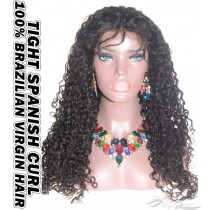 Tight Spanish Curl Brazilian Virgin Human Hair HD Lace 360 Lace Wig 150% Density Pre-Plucked Hairline
