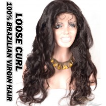 Loose Curl Brazilian Virgin Human Hair HD Lace 360 Lace Wig 150% Density Pre-Plucked Hairline